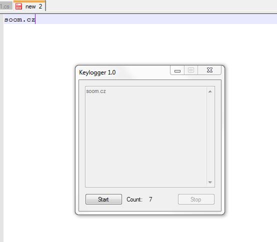 Keylogger in C# v1 1 - Updated 2011 07 12  - 07:35 - verze pro TISK